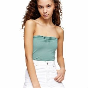 NEW Topshop Sage Green Ruched Bandeau Tube Top